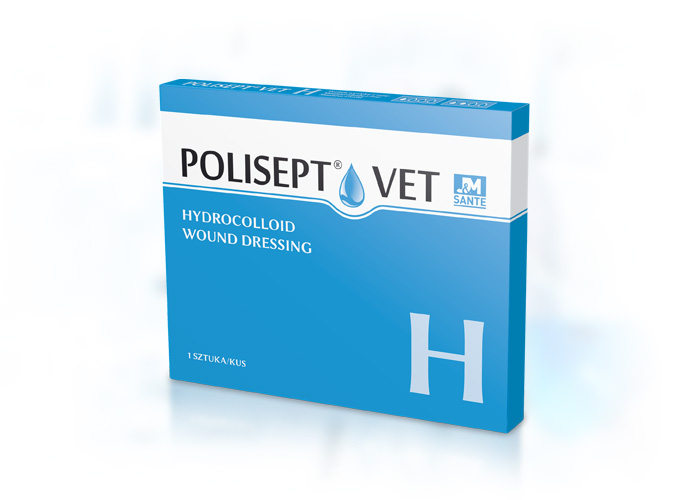 POLISEPT® VET H Hydrocolloid Wound Dressing - is a direct sterile dressing that contains a hydrocolloid layer covered in a semi-permeable film